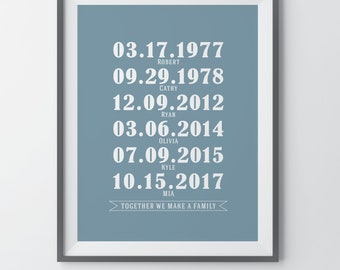 Family Dates Wall Print What a Difference a Day Makes Anniversary Gift Personalized Family Birthdays Home Decor Important Dates Print