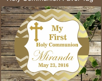 First Holy Communion Favor Tags, Printable Elegant Gold Chevron Printable Favor Tag, Religious Party Printable Tag, Baptism, Wedding Tags
