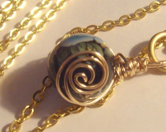 "My#241T Gorgeous! Japanese Tensha Bead! Black with a Blue Roses/w/Bits of Gold/Gold Spiral Wraps! with 24"" Gold Chain ..BeadSize: 15mm New!"