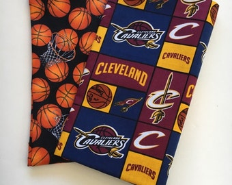 cleveland basketball fabric, reversible custom pet bandana, pet scarf, dog bandana, pet clothing, pet scarf, pet attire, basketball bandana
