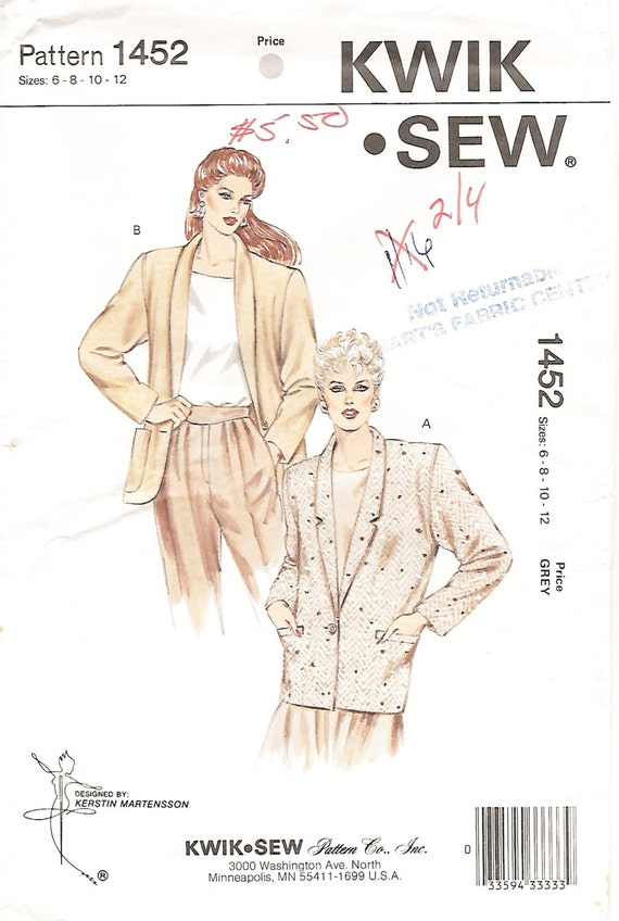 Kwik Sew 1452 Misses 80s Loose Fitting Blazer Jacket Sewing