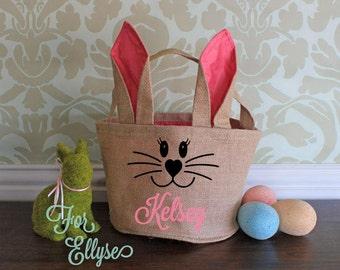 Burlap Easter Bunny basket -Pink ear/liner - Personalized Easter bucket