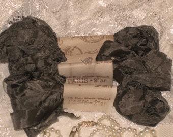 Scrunched Seam Binding ribbon, Crinkled Seam Binding Package French Gray ECS