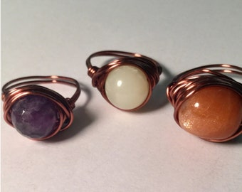 Simple Copper Wire Crystal Ring
