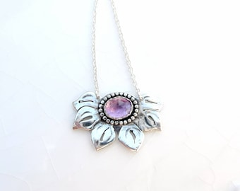 Pink Amethyst Lotus - .925 Sterling Silver, Flower Pendant, Birthstone Necklace