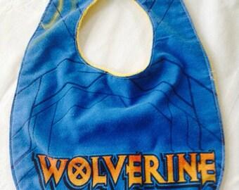 Wolverine Bib - XMEN Baby Bib - Avengers Baby Bib - Wolverine Marvel Comics Baby Bib - Upcycled Vintage Sheets Baby Bib - Logan - Logan Bib