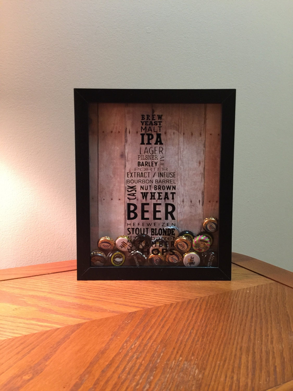 Beer typography shadow box art for Craft beer typography beer cap shadow box beer cap collector