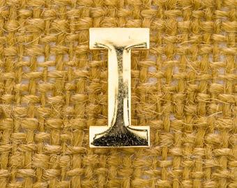 """Gold Letter I Brooch Vintage Block """"I"""" Broach Vtg Pin 7JJ"""