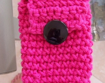 Ipod Keychain or Cell Phone Case - Hot Pink