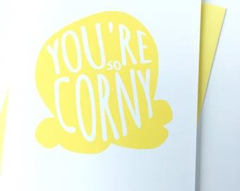Lustige Karte für Freund, nur weil Karte, denken Sie Freund Karte, gelbe Popcorn danke Karte, nette Karte, Wertschätzung Karte