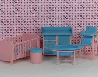 Doll house vintage nursery 1970s furniture crib high chair changing table bathtub diaper pail