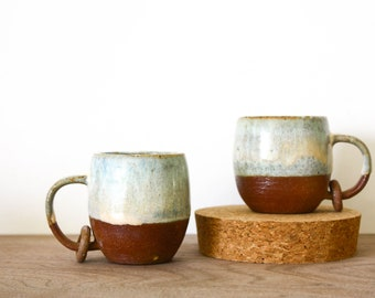 Baby Expresso mugs with Ring in Desert Sunrise peach- potter and ceramics