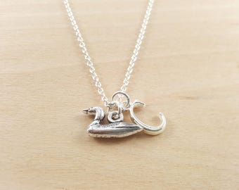Duck Charm- Personalized Necklace - Custom Initial Necklace - Silver Necklace -Initial Jewelry - Monogram Necklace - Gift for Her