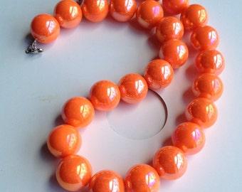 """Orange Beaded Necklace - Big Round Acrylic Beads - 20"""" - Summer Necklace"""
