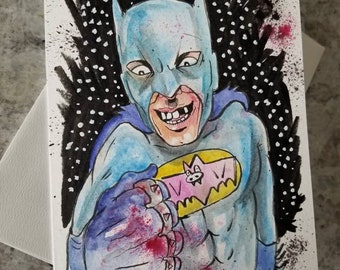 Crazy Batman original hand painted greeting card. One of a kind! FREE shipping!
