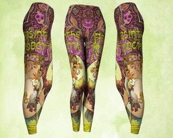 Art Nouveau, art leggings, Alphonse Mucha, purple and green, absinthe poster, gypsy clothing, boho leggings, dance rehearsal, workout wear