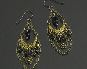 Boho Chic Gypsy Earrings, Boho Chain Earrings, Brass Chandelier Unique Jewelry Gift for Women, Wife, Long Brass Earrings, Niobium Earrings