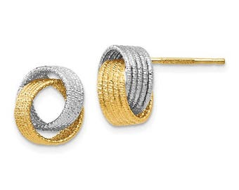 14k Yellow Gold 14k White Gold Two Tone Textured Love Knot Post Stud Earrings OV0899