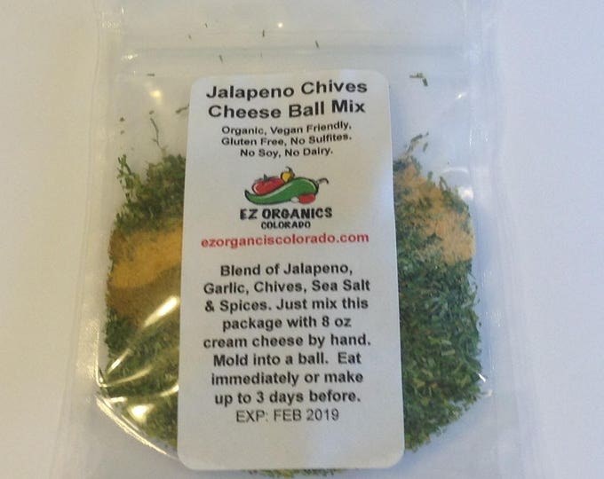Organic Dry MIx Jalapeño Chive Cheeseball so EZ. Great for holidays New Years or Super Bowl