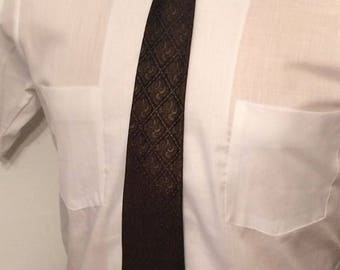 Vintage MENS A. Sulka & Company brown and black iridescent skinny tie, circa 1950s-60s