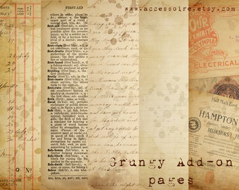 Digital Vintage Journal Page Kit - Grungy Add-on Pages - Perfect for journals, cards, mixed media, scrapbooking (5 digital pages)
