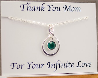 Mom Gift from Daughter or Son, Mother of the Bride Gift, Infinity Jewelry, May Birthstone Necklace, Birthday Gift for Mom Eternity Thank You