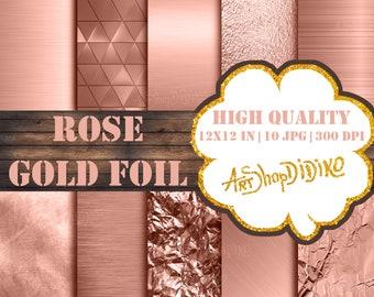 Rose Gold Digital Paper, Rose Gold Foil Backgrounds, Metallic Rose Gold Foil, Printable Rose Gold Backdrop, Rose Gold Foil Textures, Gold