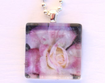Glass Tile Photo Pendant - Rose - Flower - Pink - Black - Jewelry - Necklace - Original Photography - Gift - Special Occasion - Holiday