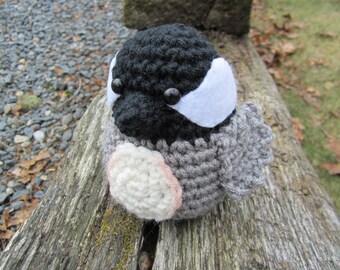 Crochet Chickadee, Crochet Bird, Stuffed Baby Bird, Amigurumi Chickadee, Stuffed Toy Chickadee by CROriginals