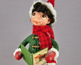 Christmas Caroler Boy Art Doll