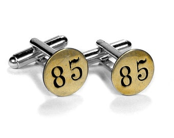 Steampunk Jewelry Cufflinks Mens SCARCE Brass Date Nail Tack 1885 Anniversary Wedding Fathers Day Groom Gift - Jewelry by Steampunk Boutique