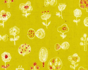 Fall Color Fabric - Japanese Double Gauze Fabric - Autumn Fall Fabric - Mustard Floral Double Gauze - Kokka Fabric