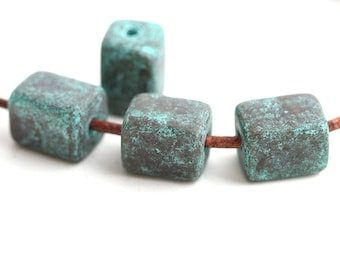 11x8mm Patinated tube beads, Cube greek ceramic beads, Copper plated, washer, for leather cord, 4pc - 0331
