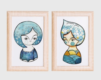 Postcards set, blue illustration, tiny postcards, blue collection, illustrated cards, print for frame, print for nursery, nursery postcards