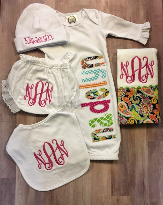 Personalized baby newborn gown baby gown with applique name