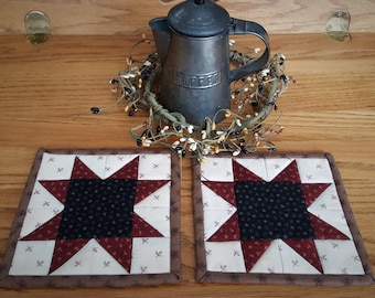 Quilted Coasters /  Quilted Mug Rugs / Country Mug Rugs / Quilted Candle Mats / Mug Rugs / Primitive Decor / Handmade