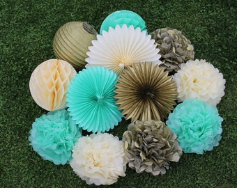 12pcs Mint Green Gold Ivory Hanging Paper Fans Tissue Paper Pom Poms Flower and Honeycomb Balls for Birthday Party Wedding Festival Decor