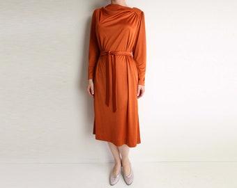 VINTAGE Dress Orange Dress 1970s Belted Longsleeve Small