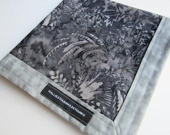 Handmade Hank EDC Hank Shades of Gray Everyday Carry Pocket Dump Hank Mens Handkerchief Gift for Him Abstract Leaf Design Batik Fabric
