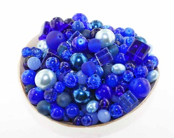 Glass Bead Mix Assorted 100 Blue Color Combination 6mm to 12mm - BMX026