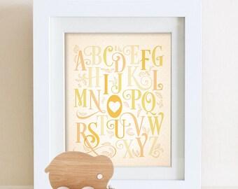 Alphabet Typography I Love You Print 8 x 10 or 11 x 14