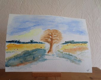 original watercolor painting signed and dated with a tree