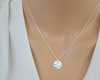 Disc necklace in Sterling silver, Dew drops chain, Satellite Perfect layering necklace, Disc necklace