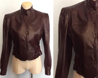 Vintage 80s Puff Sleeve Leather Cropped Jacket / Bermans Burgundy Cafe Moto Jacket / Boho Racer Jacket / Small or Medium