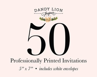 50 Professionally Printed Invitations (Free Shipping)