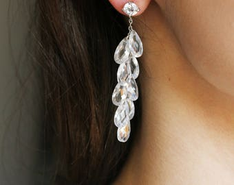 Secret Spark - Crystal Bridal Jewelry, CZ Bridal Earrings, Clear EarringClear Zirconia Earrings Silver Rhinestone Earrings, Bridesmaids gift