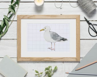 Sea gull print - watercolour bird - herring gull - small bird print - coastal decor - seagull painting - watercolour print