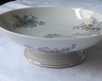 Antique fruit bowl dish Edwardian Belgian  porcelain compote socle pedestal myosotis transfer chromo pattern shabby chic table 201767