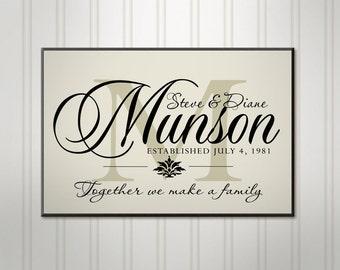 "Large Family Name Sign, Ivory or Black Block Monogram, Personalized Wedding Sign, Custom Last Name Sign, 18"" x 24"""