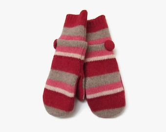 Wool Mittens // Fleece Lined Felted Wool Mittens // Red Pink Cream and Taupe Striped Wool Sweater Mittens